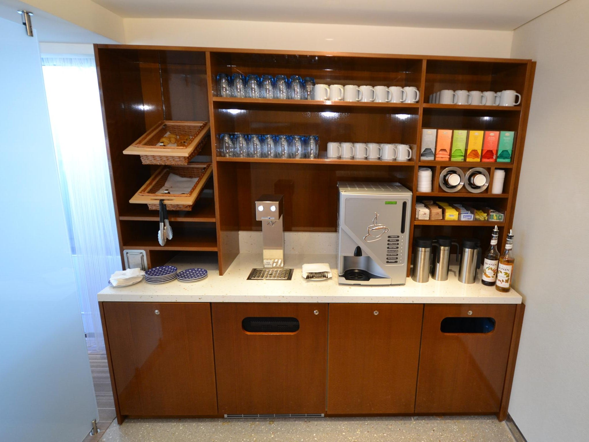 One of two self-serve coffee and tea stations located on the Upper Desk near the Observation Lounge.