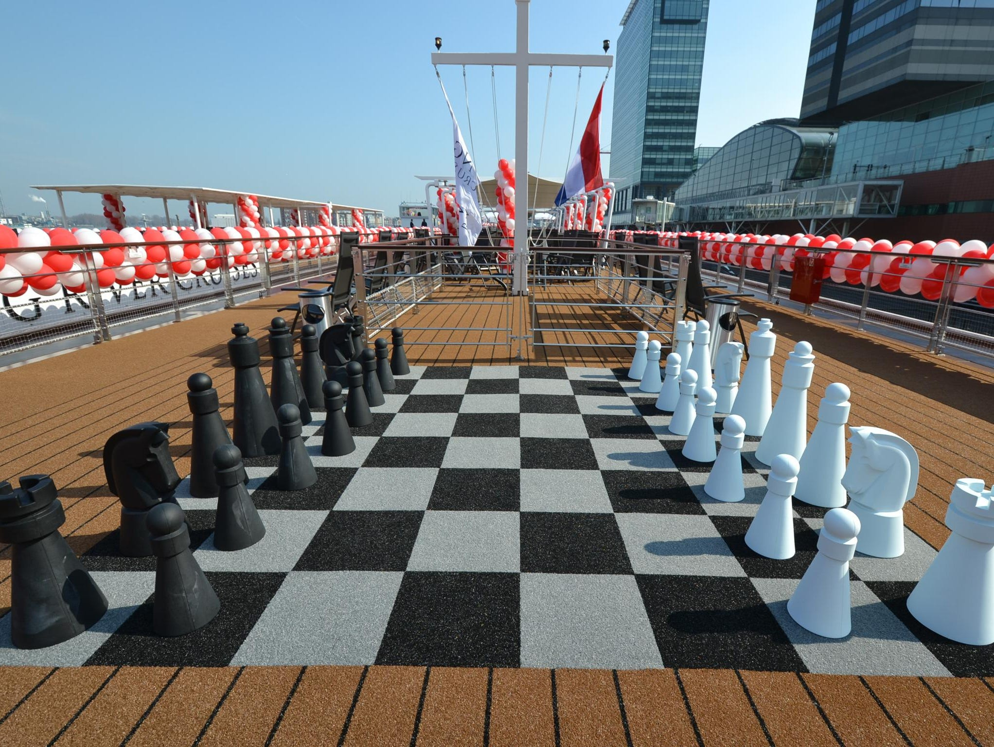 A close-up of the chess board on the Sun Deck.