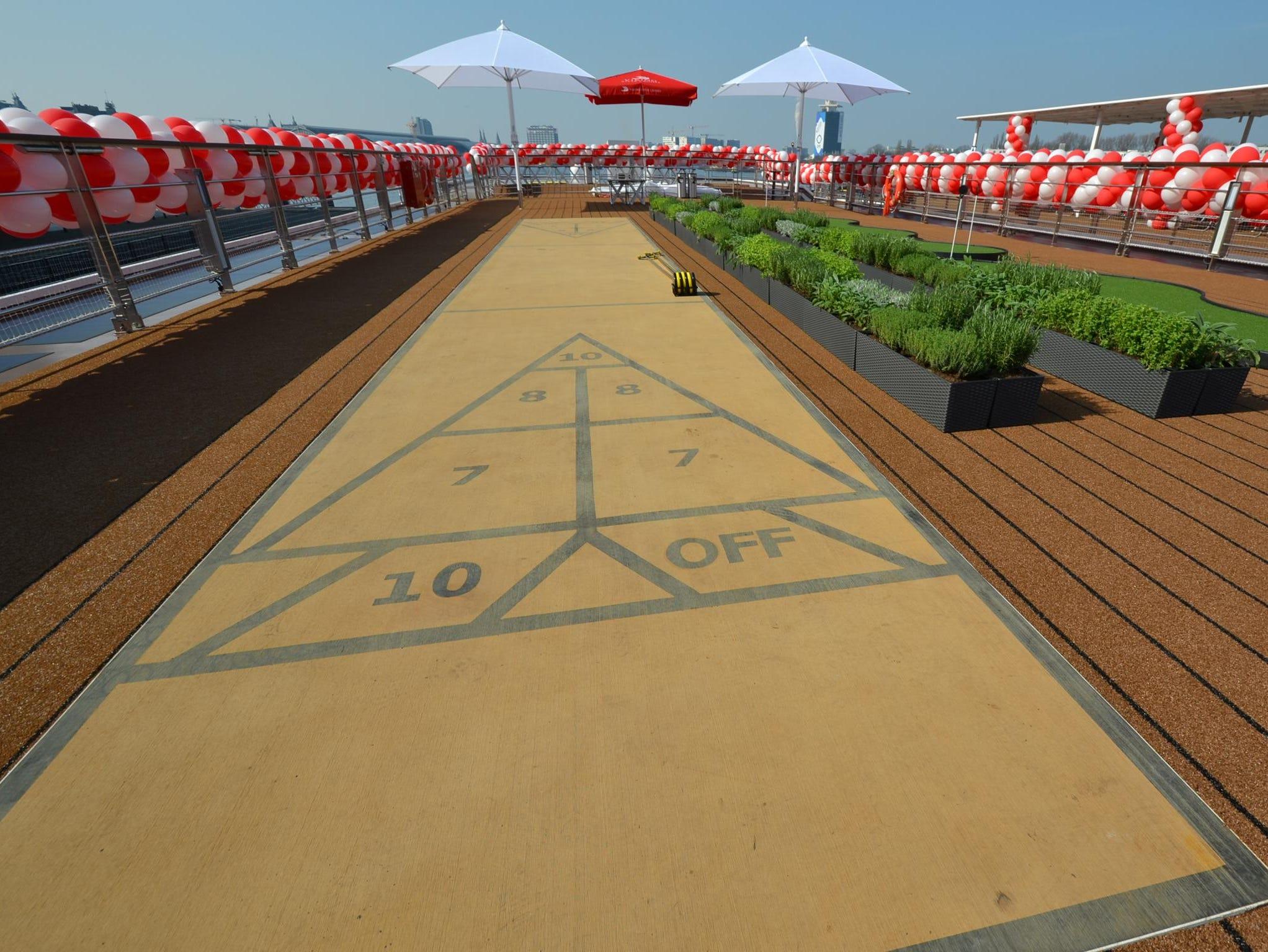 The Viking Odin's deck-top shuffleboard court.