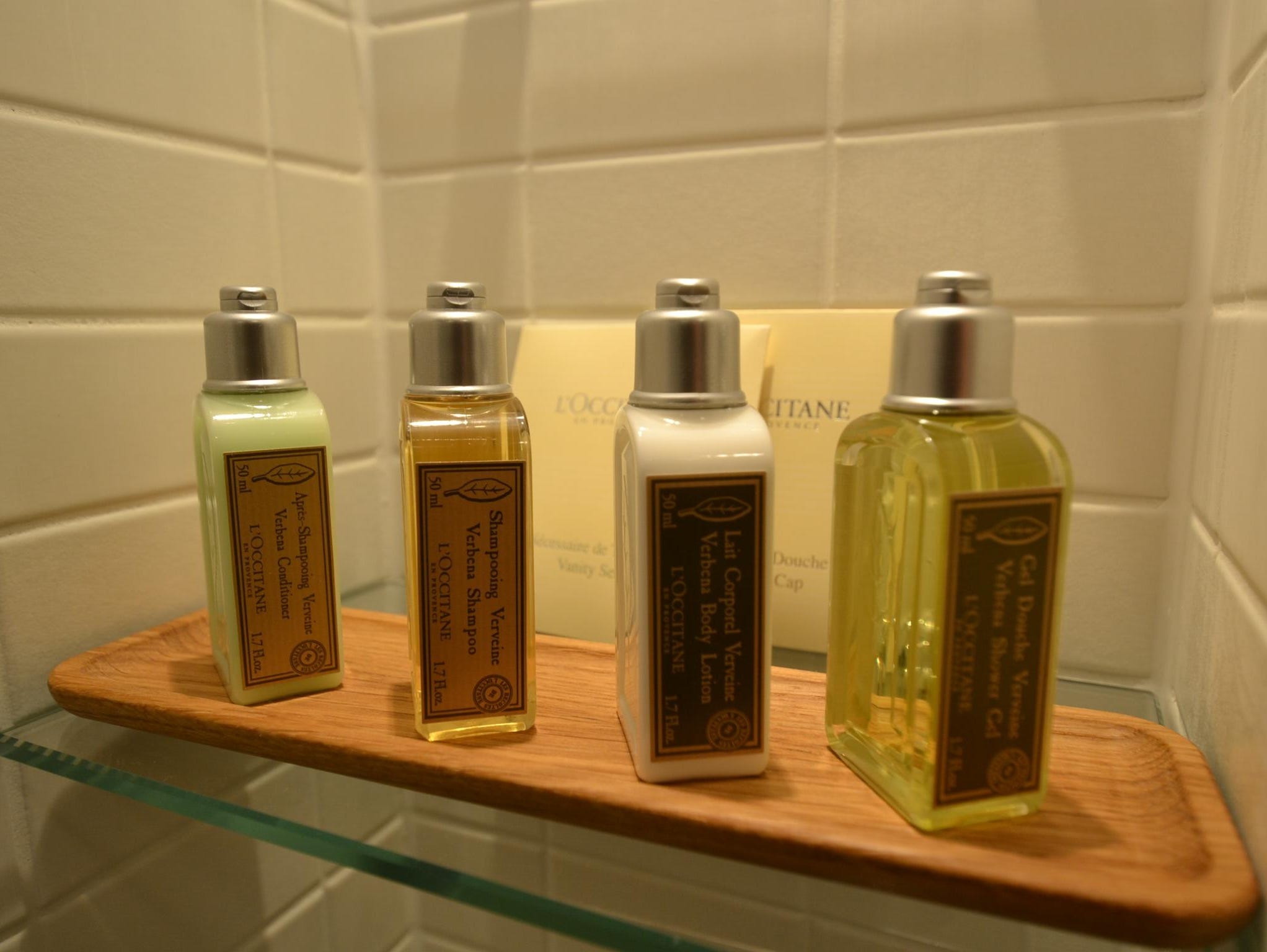 Standard in all bathrooms on the Viking Odin are L'Occitane shampoo, shower gel and other bath products.