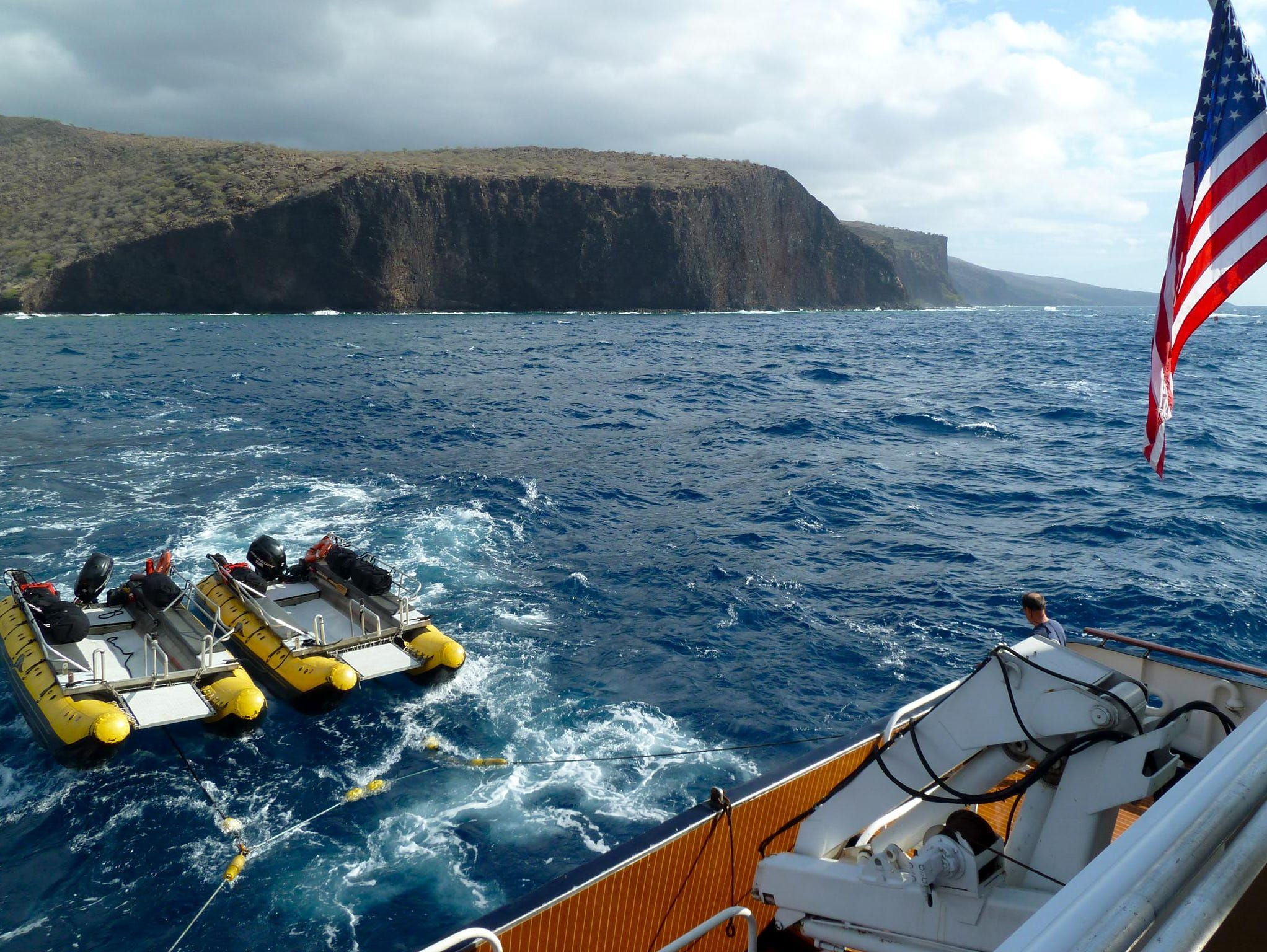 Two skiffs are used for landings, sightseeing and diving expeditions. When not in use, they are towed behind the ship.