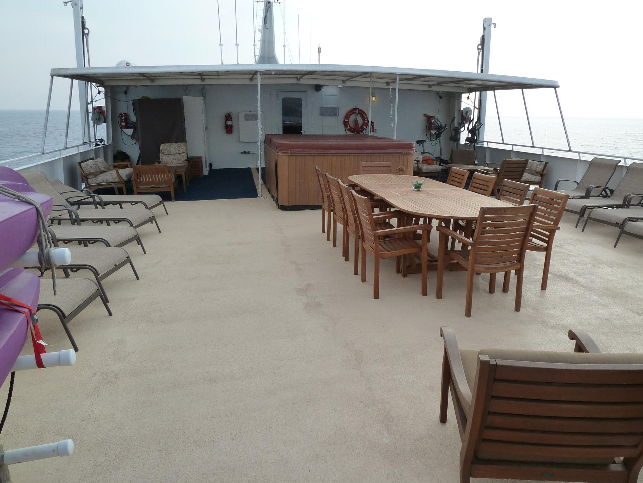 Bridge Deck also has sun loungers and a large dining table for on-deck barbeques.