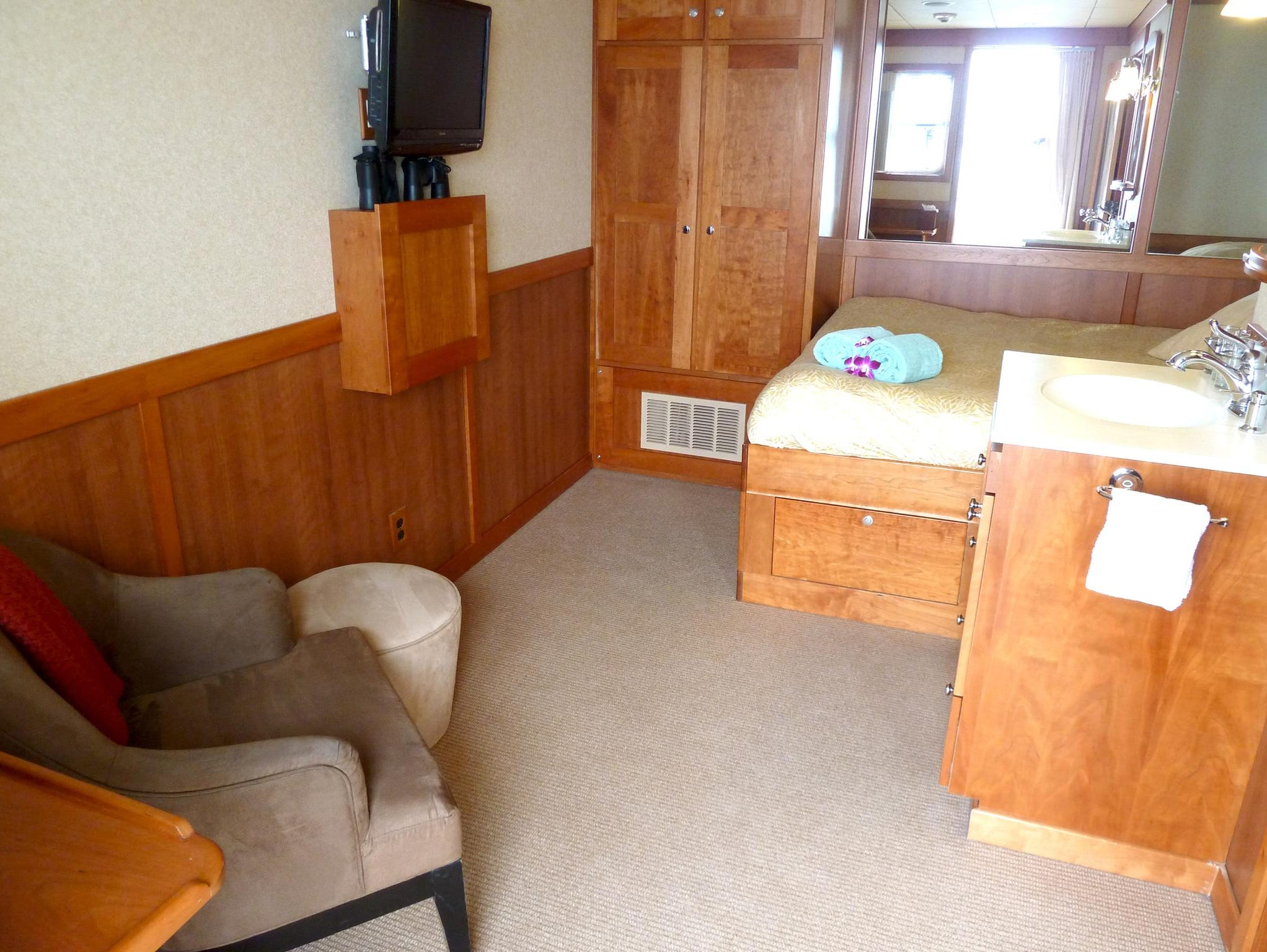Nine Master Staterooms have queen-sized beds, plenty of storage space and en-suite sinks with separate bathrooms.