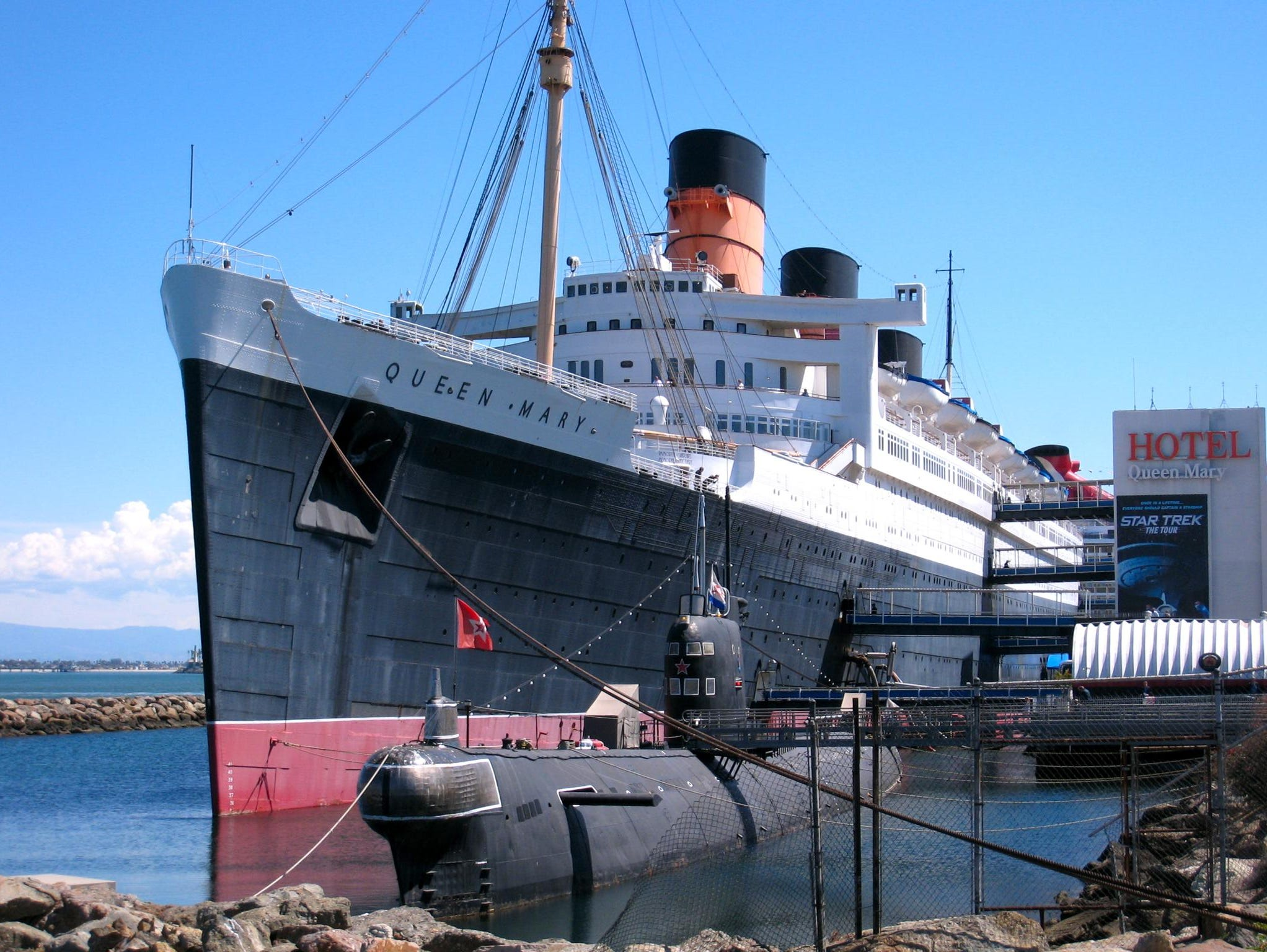 Quite possibly the most famous passenger ship of all time (that did not sink), the former Cunard liner Queen Mary continues to serve well into its 76th year. The iconic three funneled liner is now a cherished hotel, museum and tourist attraction in Long Beach, California.