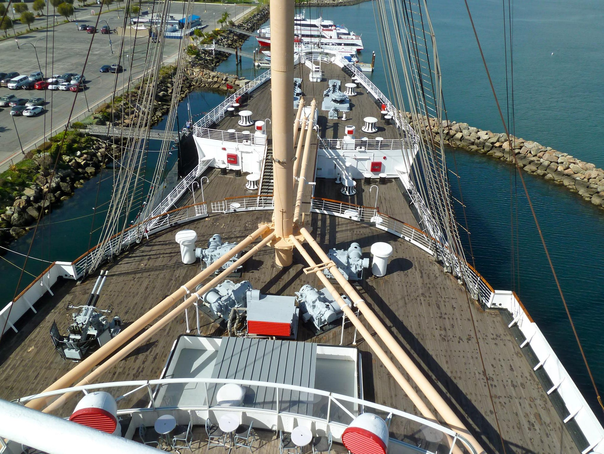 This is a view over the Queen Mary's long bow from the (crew-only) compass platform atop the wheelhouse.