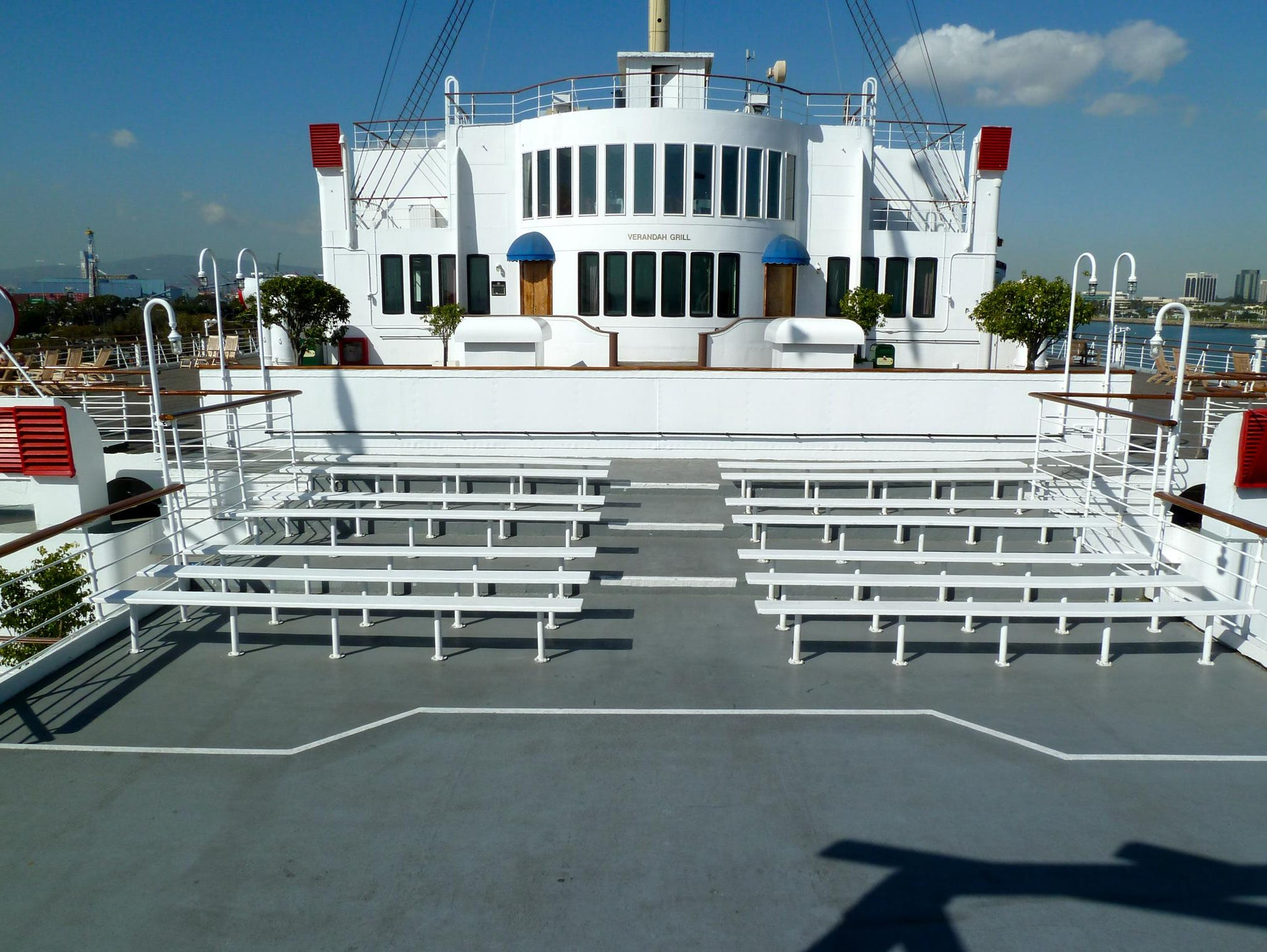 At the far aft end of Sun Deck, a small amphitheater was added in the Long Beach conversion.