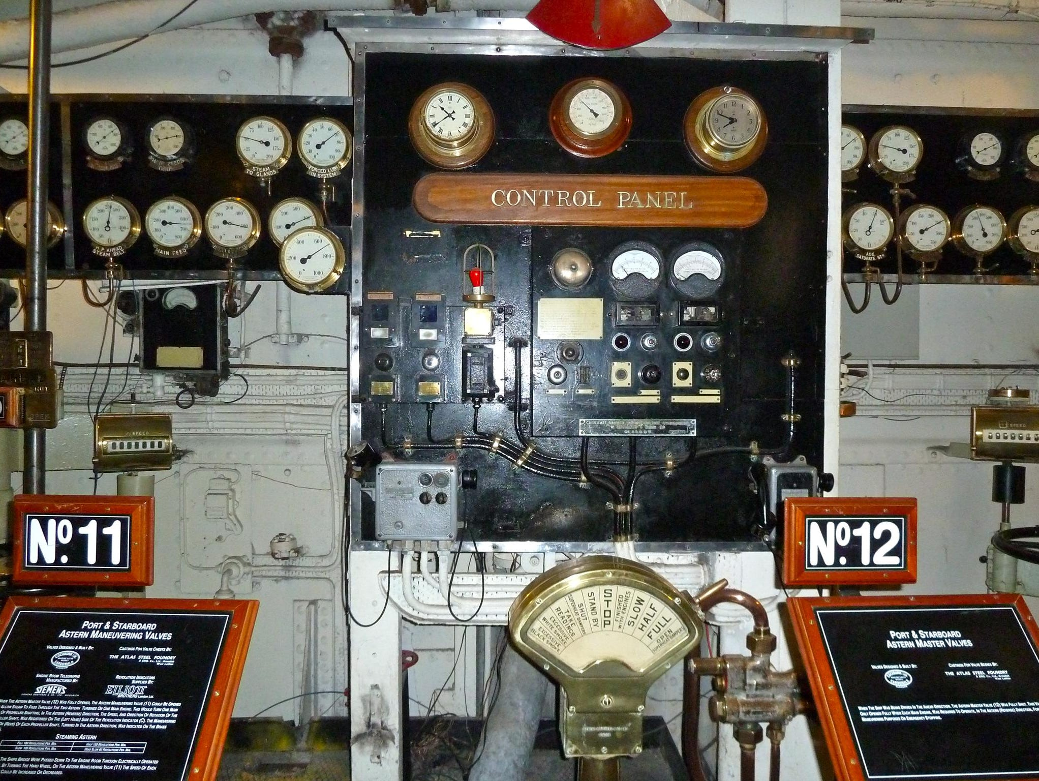 Also on display is what remains of Queen Mary's vast power plant. The main engine control panel, shown here, and one engine room were left intact.