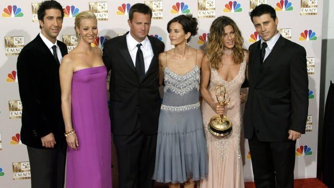 Cast of  'Friends,' from left, David Schwimmer, Lisa Kudrow, Matthew Perry, Courtney Cox, Jennifer Aniston and Matt LeBlanc.