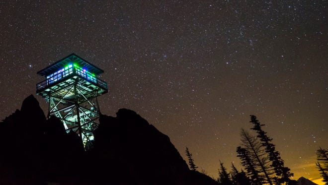 Flag Point Lookout, seen here on a winter night lit up by visitors, will no longer be open for rental to the public.