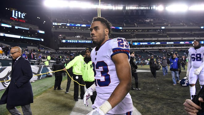 """Giants running back Rashad Jennings is happy to be going to his first playoffs in his eighth NFL season. """"Finally. Finally, man. It doesn't happen every year; obviously I'm living proof of that."""""""