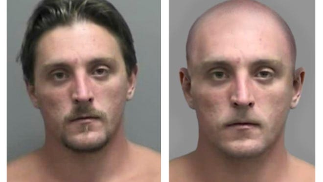This combo made Tuesday, April 11, 2017, from images provided by the FBI shows Joseph Jakubowski's mug shot at left and an altered image the FBI made to show Jakubowski with his head and facial hair shaved off. Authorities released the modified mug shot of Jakubowski, because the FBI believes he may have altered his appearance. State and federal law enforcement officers had been searching for Jakubowski since April 4, 2017, when they believe he took 18 firearms from a gun store in Janesville in southwestern Wisconsin. He was captured Friday, April 14, 2017.
