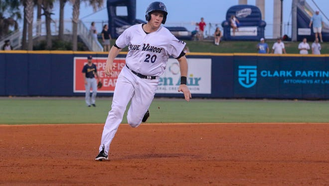 Pensacola's Gavin LaValley (20) makes his way safely to third base from first on an RBI double hit by Josh VanMeter against the Montgomery Biscuits at Admiral Fetterman Field on Friday, June 30, 2017.