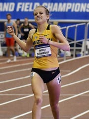 Karissa Schweizer, after winning the 5,000 at the NCAA