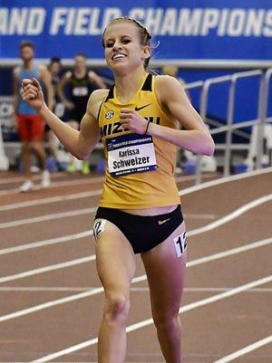 Karissa Schweizer, after winning the 5,000 at the NCAA Indoor Championships.