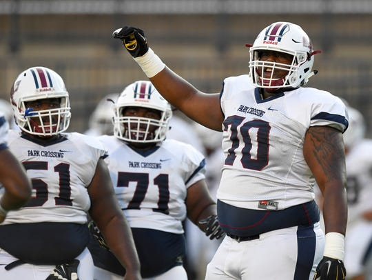 Park Crossing's Tank Jenkins (70) at Cramton Bowl in