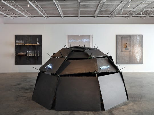 Center: Mario Merz, From Continent to Continent, 1993;
