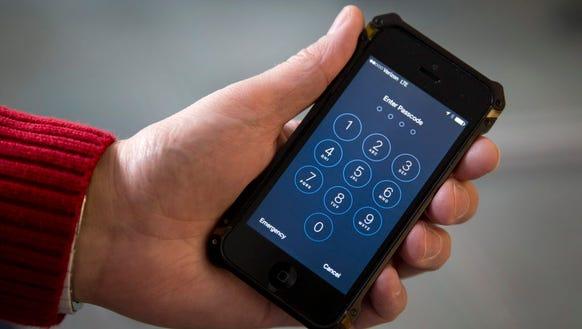 An iPhone is seen Feb. 16, 2017, in Washington. The