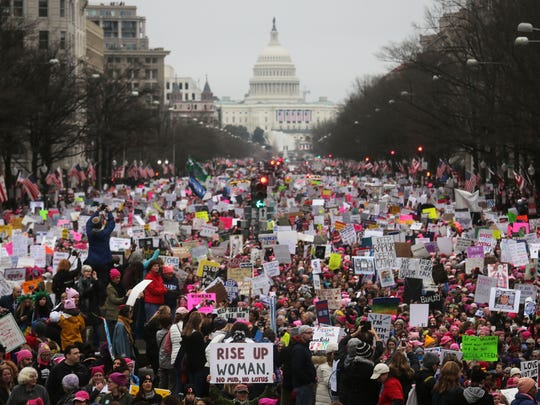 Thousands attended the Women's March on Washington in the U.S. Capitol on January 21, 2017 in Washington, D.C. Large numbers are also expected on Saturday, March 24 for the March for Our Lives rally.