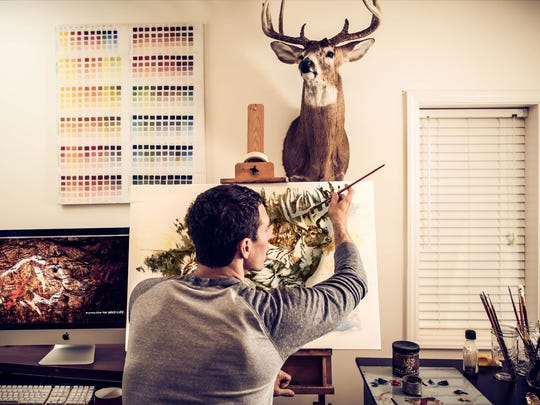 Ryan Kirby paints out of his home studio in Boone, N.C.