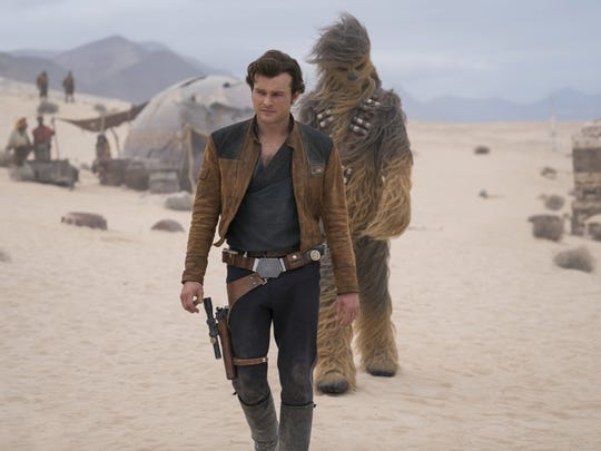 "Young Han Solo (Alden Ehrenreich) goes on his first mission with new pal Chewbacca (Joonas Suotamo) in ""Solo: A Star Wars Story"" (May 25)."