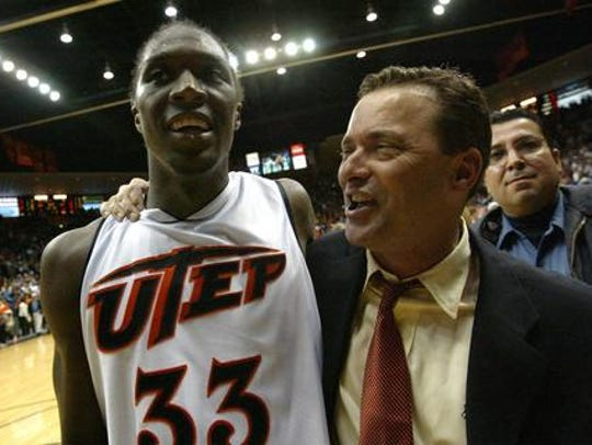 Omar Thomas and Billy Gillispie celebrate a UTEP victory.