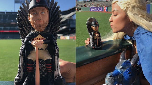Hunter Pence and his wife Alexis made the most of Giants' 'Game of Thrones' Night