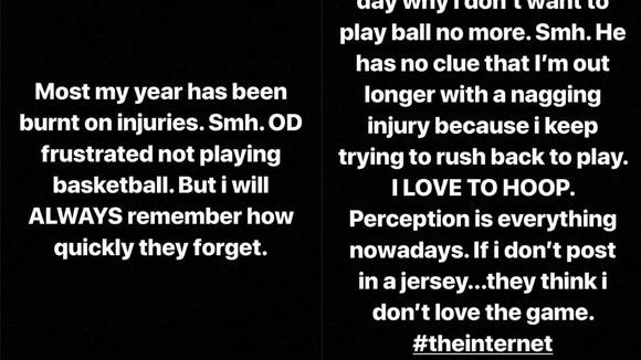 Iman Shumpert makes statement on Instagram after a kid asked why he doesn't play