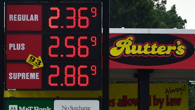 Gas prices are displayed at a Rutter's along Lincoln Way East, Chambersburg on Tuesday, June 21, 2016.