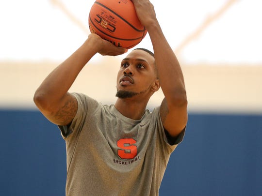 Former Syracuse University standout Kris Joseph shoots jumpers during practice with the Boeheim's Army team in The Basketball Tournament, a $2 million, winner-take-all event featuring many former college basketball players.