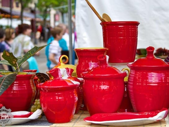 Carol Berhorst of Bloomfield Fills, pottery at art fair