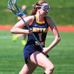 Notre Dame junior Abbey Keuper, 18, fights with an opponent for the ball April 11.