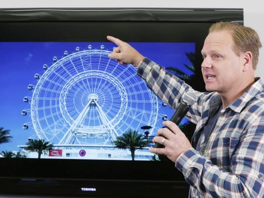 High-wire performer Nik Wallenda announces his latest stunt, a walk atop the 400-foot Orlando Eye, during a news conference on Monday in New York.