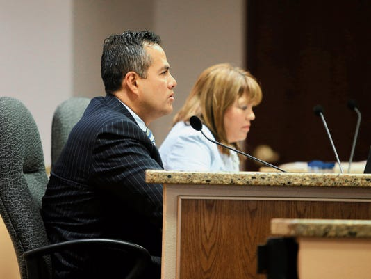 El Paso City Manager Tommy Gonzalez listens to a discussion at a recent city council meeting.