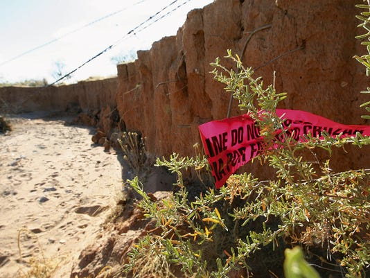 The site where the remains believed to be 5-month-old Jackson Farrey were found in Orogrande, N.M.