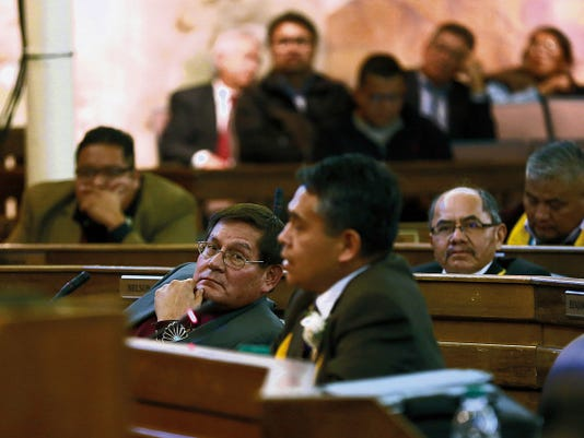 Jon Austria — The Daily Times Speaker Pro Tempore LoRenzo Bates listens to Council Delegate Kee Allen Begay Jr. speak Tuesday at the Navajo Nation Council Chambers in Window Rock, Ariz.