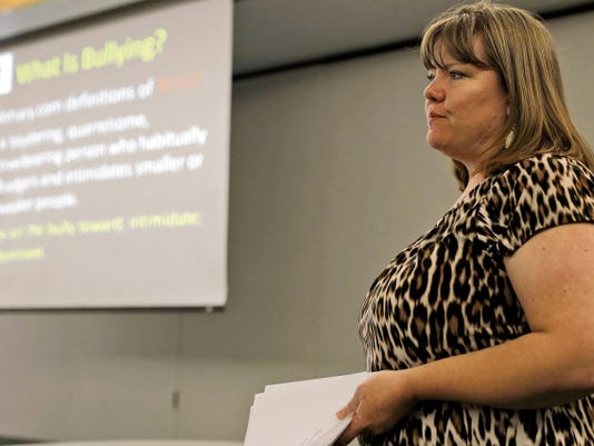 Melissa Meechan, co-chairwoman of Civility First Four Corners, speaks to a group of students about bullying during Anti-Bullying Day on Monday at the Henderson Performing Arts Center at San Juan College in Farmington.
