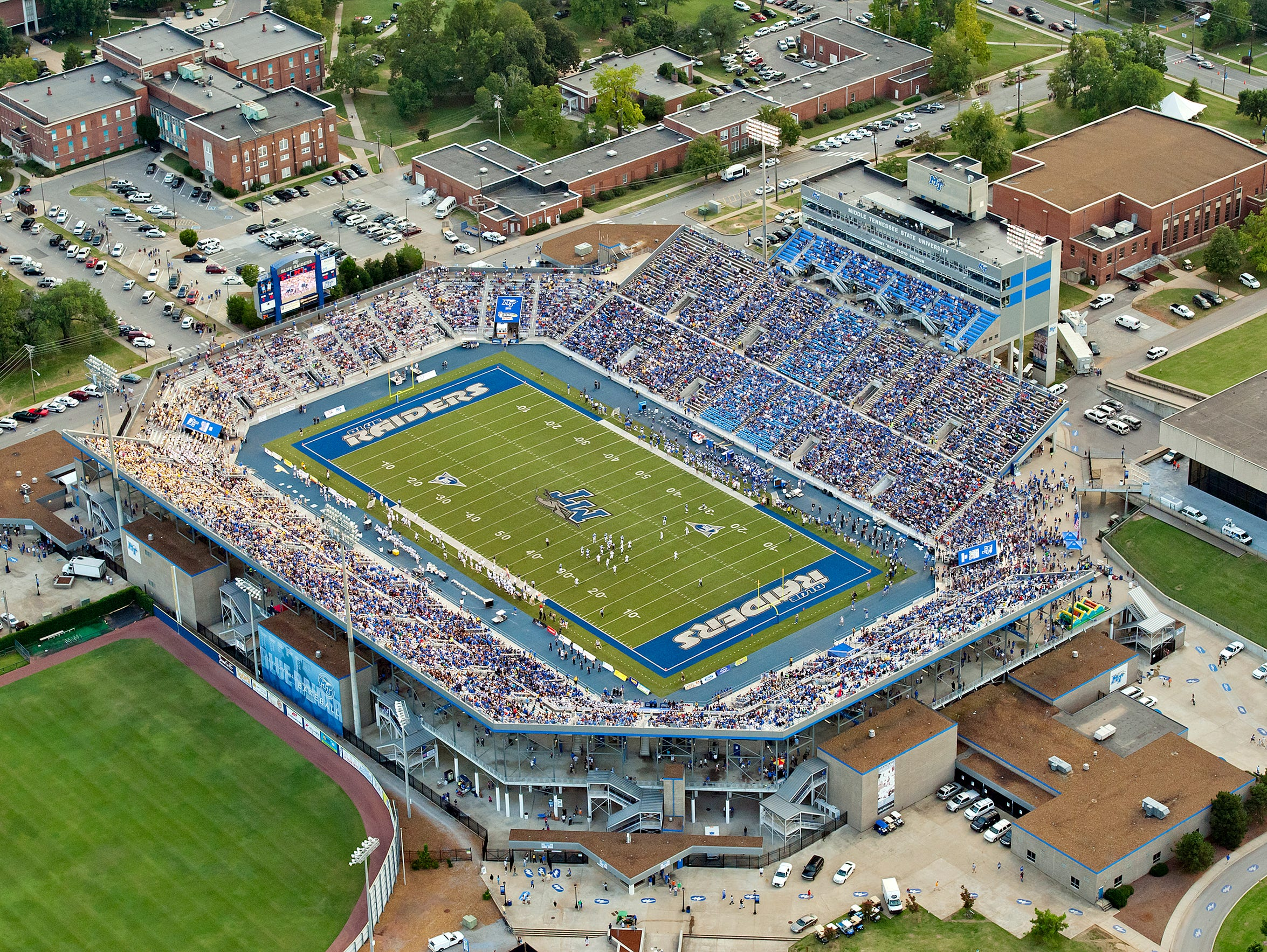 "Johnny ""Red"" Floyd Stadium is named after MTSU's first"