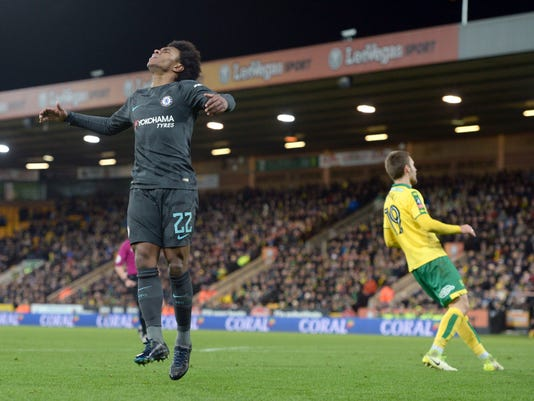 Chelsea's Willian reacts after a missed chance during their English FA Cup, third round soccer match against Norwich City at Carrow Road, Norwich, England, Saturday, Jan. 6, 2018. (Joe Giddens/PA via AP)