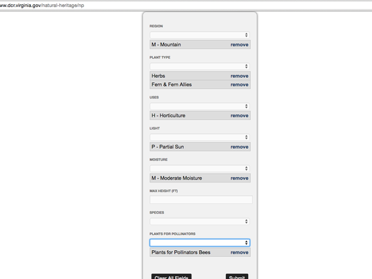 Example of the drop down menu for the Virginia Native Plant Finder.