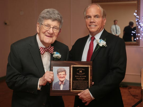 Metuchen High School's Inaugural Hall of Fame Induction ceremony at The Gran Centurions in Clark on May 22, 2016. Honoree Donald Wernik, Class of 1943, left, with MHS principal Bruce Peragallo.