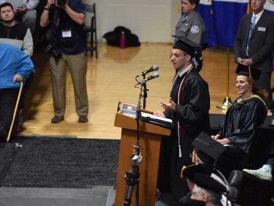 Jake Austin Kosack, 20218 senior class president, delivers