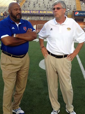 TSU Coach Rod Reed, left, and Tennessee Tech's Watson Brown head into the 2015 football season with their teams predicted by the media to finish sixth and seventh respectively in the OVC.