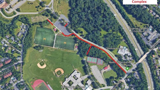 Map of proposed extension of Madison Recreation Center's existing trail system. The project adds a new trail connecting the Ridgedale Avenue sidewalk to the existing trail system