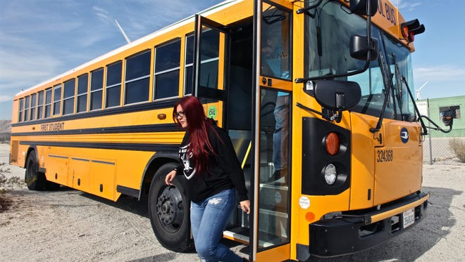 Desert Hot Springs High School students embarked on a school bus field trip to a wind farm and a solar plant on Thursday, Jan. 14, 2016.