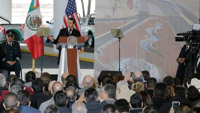 Mexican President Enrique Peña Nieto addresses invited guests and dignitaries from the U.S. during the celebration of the inauguration of the Tornillo-Guadalupe Port of Entry.