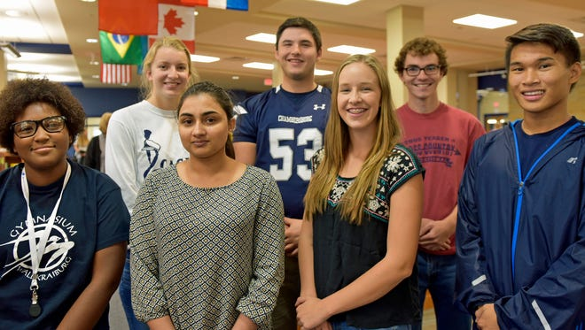 Featured students are, from, left, Ciara Little, Emma Guare, Tehreem Tehseen, Kelton Chastulik Lindsay McGuire, Ian Mangam and Carlos Vera. Chambersburg is an International Baccalaureate (IB) School.