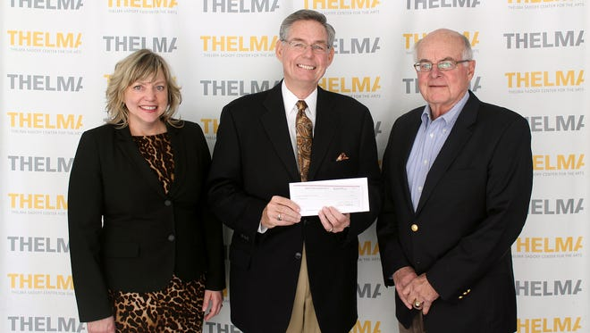 Thelma Sadoff Center for the Arts has received a $5,000 grant from the Oberreich Foundation to support Studio 51. Pictured are, from left: Jacqui Corsi, THELMA executive director, Roger Zuleger, Oberreich Foundation, and Tom Herre, president of the THELMA Board of Directors.