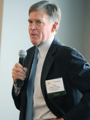 Tom Bracken, CEO of the New Jersey Chamber of Commence, speaks at a  Fall Networking Breakfast held at The Asbury Park Press in Neptune on Wednesday.