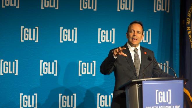Kentucky Governor Matt Bevin addressed a variety of topcs during a Greater Louisville Inc. breakfast. Oct. 24, 2017.