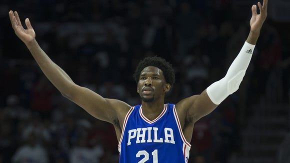 Joel Embiid #21 of the Philadelphia 76ers reacts in